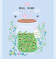 jar of lime jam with cute kawaii berries vector image vector image