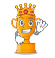 king golden trophy cup isolated on mascot vector image