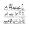 Kitchen utensils on shelves sketch drawing