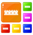 little crown icons set color vector image vector image