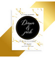luxury wedding card design with marble texture vector image