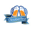 oktoberfest blue ribbon two mugs of beer im vector image vector image