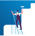 painter painting wall worker on ladder paints vector image vector image