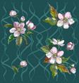 pattern apple flowers vector image vector image