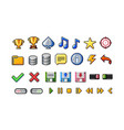 pixel art style icons collection on white vector image