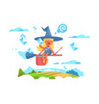 postal fairy woman flying on a broom vector image vector image
