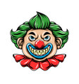 scary clown with sharp teeth and ball vector image vector image