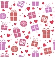 Seamless pattern gift boxes with hearts vector image