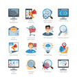 SEO And Web Development Flat Icons Set vector image