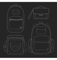 Set of 4 fashionable man bags Chalk vector image vector image