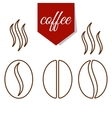 set of coffee beans lines vector image