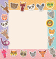 Set of funny animals muzzle square frame template vector image vector image