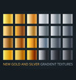 set silver and gold gradients on dark vector image