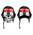 skull in pilots helmet and band vector image vector image