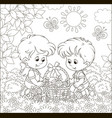 small children with an easter basket vector image