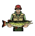 smiling fisherman holding caught pike fish vector image