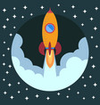 space rocket ship in round piece vector image vector image