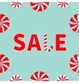 Text Sale Round white and red sweet Candy cane set vector image