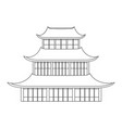 traditional asian house thin line object vector image vector image