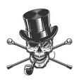 vintage gentleman skull smoking pipe vector image vector image