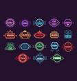 poker club and casino emblem set neon light vector image