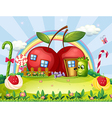 A monster going to the apple house vector image vector image