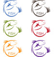 abstract design stickers set of the fish vector image vector image