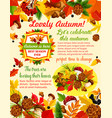 autumn banner template with fall nature leaf vector image