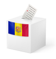 Ballot box with voting paper Andorra vector image vector image