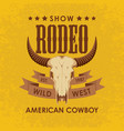 banner for a cowboy rodeo show with a bull skull vector image vector image