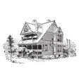 bensonhurst two story house vintage engraving vector image vector image