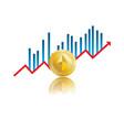 bitcoin golden chart vector image vector image