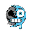 blue cold emoticon change to dark skull vector image vector image
