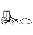 bulldozer with load in monochrome blurred vector image vector image