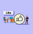 businessman with thumbs up symbol like icon vector image vector image