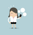 businesswoman looking on her smart phone vector image vector image