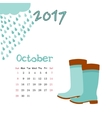 Calendar October 2017 Template Week vector image vector image