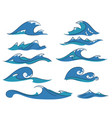 cartoon waves set vector image vector image