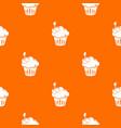 cherry cupcake pattern orange vector image vector image