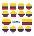 colombia flag collection figure icons set vector image vector image