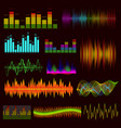 color digital music equalizer set on a dark vector image