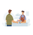 contactless pay qr codes hopping in supermarket vector image vector image