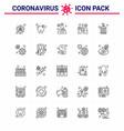 coronavirus awareness icons 25 line icon corona vector image vector image