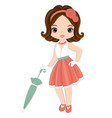 cute little girl in retro style vector image vector image