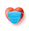 cute realistic red heart in blue medical mask vector image