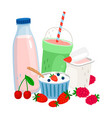 dairy and berries milk yogurt cream fresh vector image