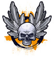 detailed graphic human skull with wings vector image vector image