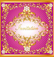 frame background with gold pattern by net and bow vector image