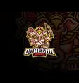 ganesha mascot esport logo design vector image vector image