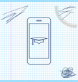 graduation cap and smartphone icon online vector image